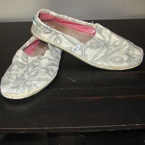 Toms black & white Knot nautical shoes 10